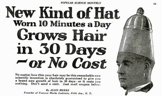 Old Vintage Ad for a Hat that Grows Hair in Popular Science